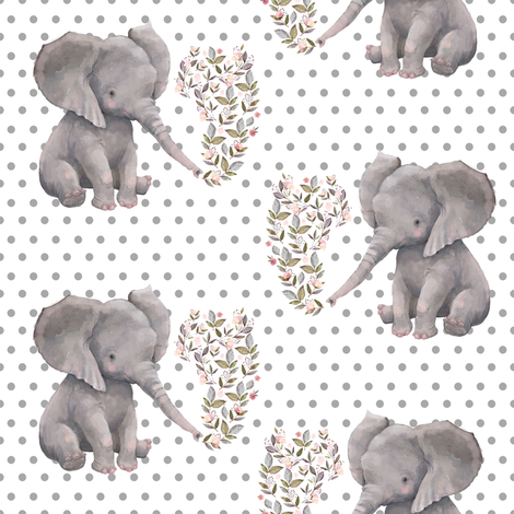 "8"" Floral Elephant with Polka dots fabric by shopcabin on Spoonflower - custom fabric"