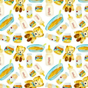 Baby food watercolor pattern