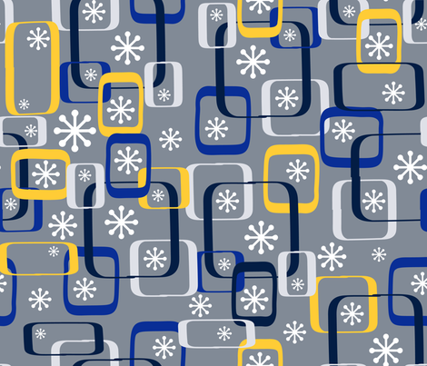 Winter Mod Snowflakes fabric by kfrogb on Spoonflower - custom fabric