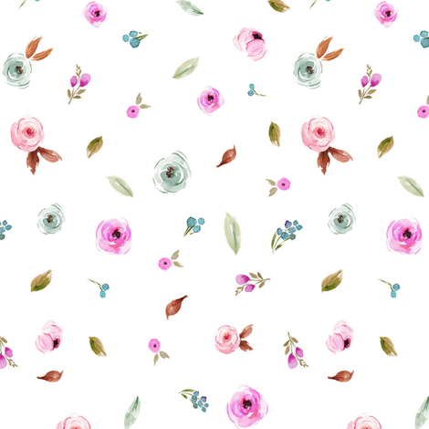 Mini Fall Pink and Silver Blue Blooms fabric by hipkiddesigns on Spoonflower - custom fabric