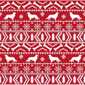 Cavalier King Charles Spaniel fair isle christmas dog silhouette fabric red