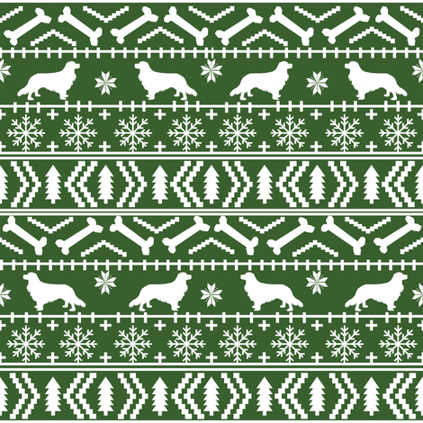 Cavalier King Charles Spaniel fair isle christmas dog silhouette fabric med green fabric by petfriendly on Spoonflower - custom fabric