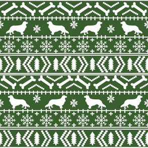 Cavalier King Charles Spaniel fair isle christmas dog silhouette fabric med green