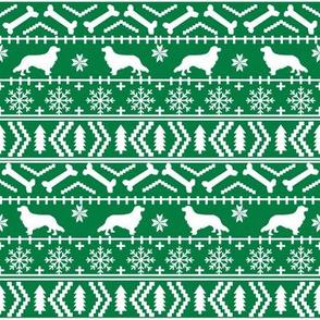 Cavalier King Charles Spaniel fair isle christmas dog silhouette fabric green