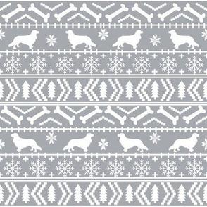 Cavalier King Charles Spaniel fair isle christmas dog silhouette fabric grey
