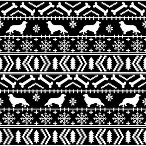 Cavalier King Charles Spaniel fair isle christmas dog silhouette fabric black and white