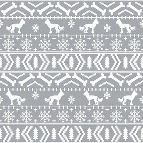 Chinese Crested fair isle christmas dog silhouette fabric grey