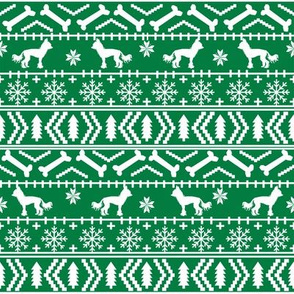 Chinese Crested fair isle christmas dog silhouette fabric green