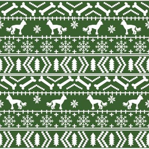 Chinese Crested fair isle christmas dog silhouette fabric med green