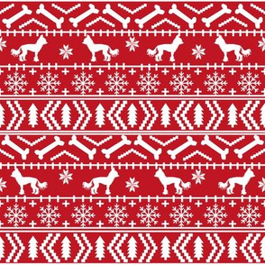 Chinese Crested fair isle christmas dog silhouette fabric red