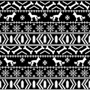 Chinese Crested fair isle christmas dog silhouette fabric black and white