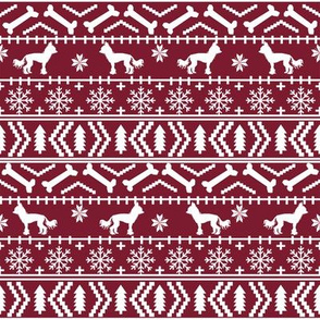 Chinese Crested fair isle christmas dog silhouette fabric ruby