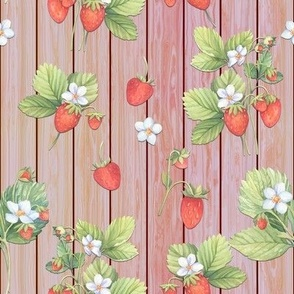 WATERCOLOR STRAWBERRIES MIX CORAL ON VERTICAL WOOD