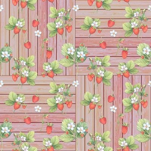 WATERCOLOR STRAWBERRIES CORAL MIX ON CHECKERBOARD WOOD