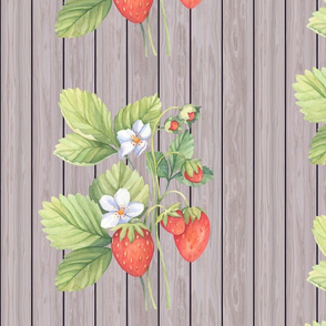 WATERCOLOR LARGE STRAWBERRY MIX ON WOOD NATURAL TAUPE VERTICAL