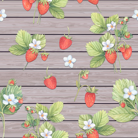 WATERCOLOR STRAWBERRIES MIX ON HORIZONTAL  WOOD NATURAL TAUPE  fabric by floweryhat on Spoonflower - custom fabric