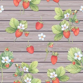 WATERCOLOR STRAWBERRIES MIX ON HORIZONTAL  WOOD NATURAL TAUPE