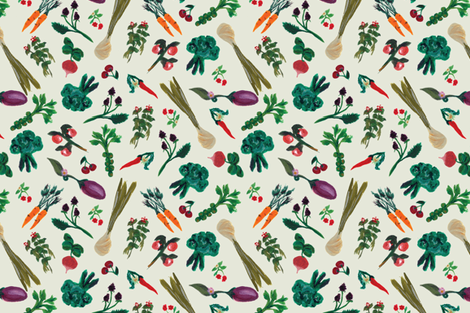 Hand-Painted Garden  fabric by emmabrereton on Spoonflower - custom fabric