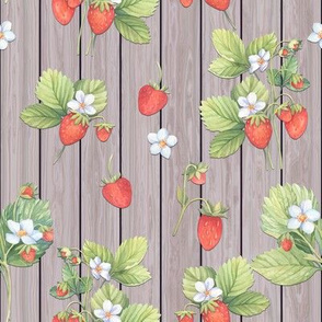 WATERCOLOR STRAWBERRIES MIX ON VERTICAL WOOD NATURAL TAUPE