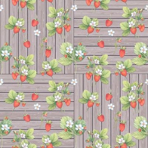 WATERCOLOR_STRAWBERRIES_MIX_ON_WOOD_NATURAL_TAUPE_CHECKERBOARD_by_FLOWERYHAT