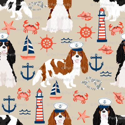 Cavalier Nautical fabric - cavalier dog fabric
