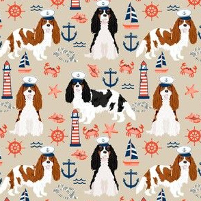 Cavalier Nautical fabric - cavalier dog fabric