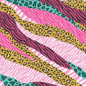 Cheetah Leopard Zebra Animal Stripes Pink Mustard Mint