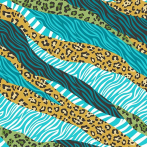 Cheetah Leopard Zebra Animal Stripes Mustard Blue Green