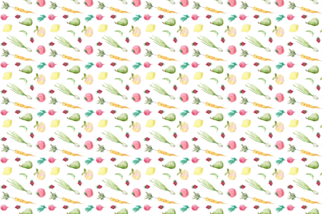 Farmers Market Fruits & Veggies fabric by pocketful_of_letters on Spoonflower - custom fabric