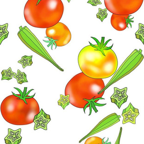 Homegrown tomatoes and fresh okra, vertical