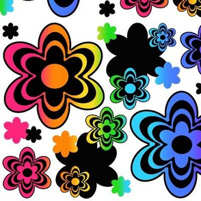 Rainbow Floral Mulitcolor Abstract Flowers
