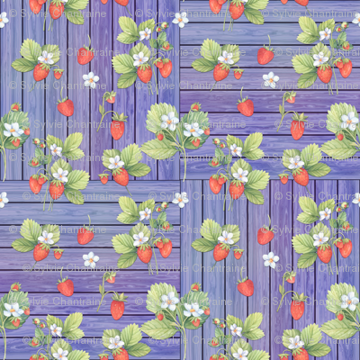 WATERCOLOR STRAWBERRIES MIX ON WOOD PURPLE MAUVE CHECKERBOARD