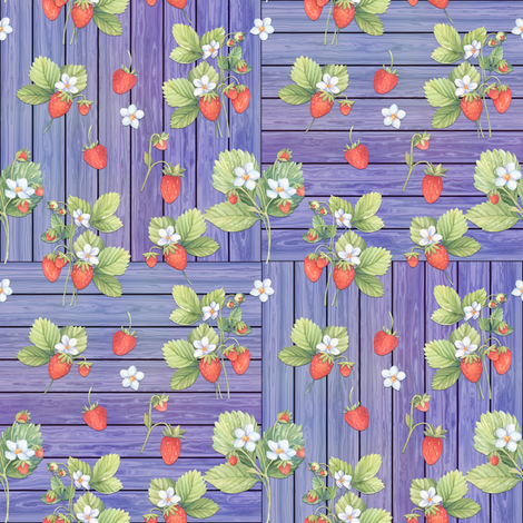 WATERCOLOR STRAWBERRIES MIX ON WOOD PURPLE MAUVE CHECKERBOARD fabric by floweryhat on Spoonflower - custom fabric