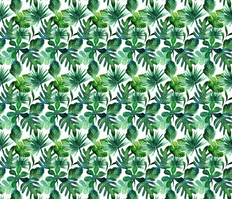 tropical_Leaves_small fabric by crystal_walen on Spoonflower - custom fabric