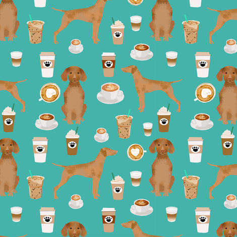 Vizsla coffee cafe dog fabric pet dog breeds vizslas turquoise fabric by petfriendly on Spoonflower - custom fabric