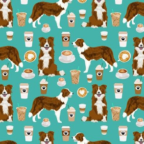 Border Collie  coffee cafe dog fabric pet dog breeds collies turquoise