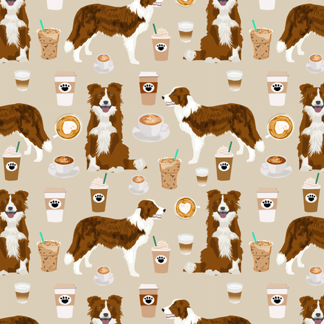 Border Collie  coffee cafe dog fabric pet dog breeds collies natural fabric by petfriendly on Spoonflower - custom fabric