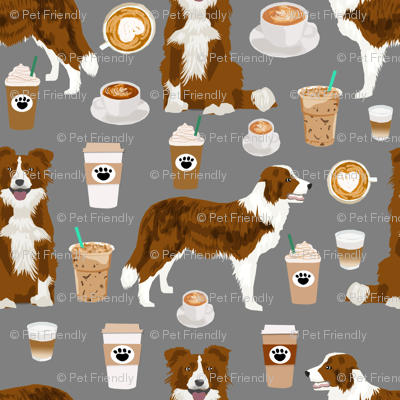 Border Collie  coffee cafe dog fabric pet dog breeds collies grey