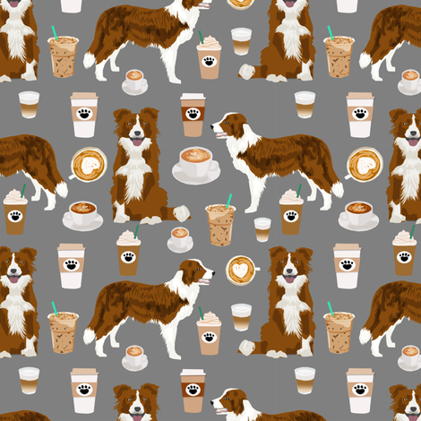 Border Collie  coffee cafe dog fabric pet dog breeds collies grey fabric by petfriendly on Spoonflower - custom fabric