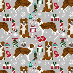Border Collie Christmas fabric red coat dog pattern grey