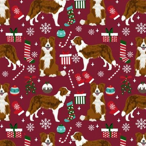 Border Collie Christmas fabric red coat dog pattern ruby