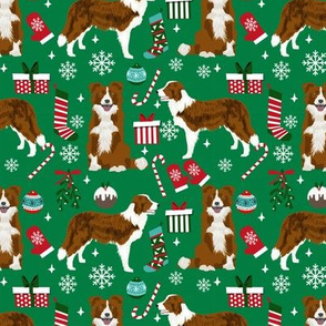 Border Collie Christmas fabric red coat dog pattern green