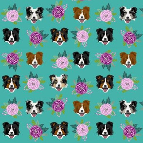 Border Collie floral bouquet dog fabric turquoise