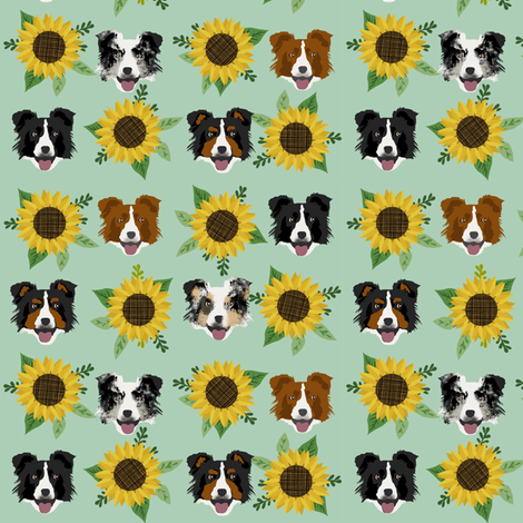Border Collie sunflower floral bouquet dog fabric green fabric by petfriendly on Spoonflower - custom fabric