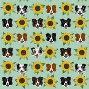 Border Collie sunflower floral bouquet dog fabric green