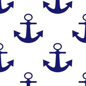 Two Inch Midnight Blue Anchors on White