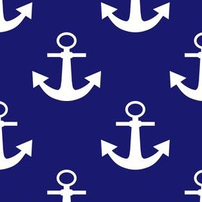 Two Inch White Anchors on Midnight Blue
