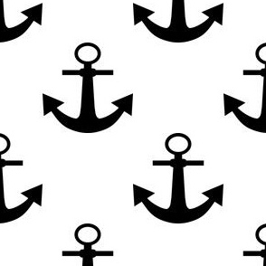 Two Inch Black Anchors on White
