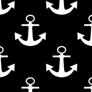 Two Inch White Anchors on Black