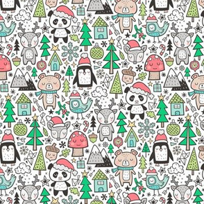 Christmas Holidays Animals Doodle with Panda, Deer, Bear, Penguin and Trees on White Smaller 1,5 inch Tiny